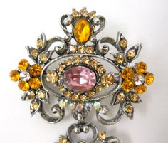 3 Piece Rhinestone Brooch Pin Oval Pink Yellow Lrg Clear Pear Facet Silver Tone #Unknown