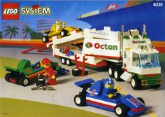LEGO 6335 Indy Transport instructions displayed page by page to help you build this amazing LEGO Town set Old Lego Sets, Classic Lego, Lego Clones, Lego Truck, Vintage Lego, Lego News, Lego Models, Lego Projects, Lego Instructions