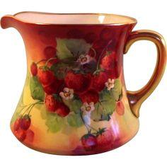 "Limoges ""Ravenwood"" Studio Hand Painted Strawberry Pitcher"