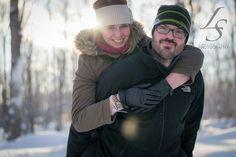 A Sugar shack Engagement Outdoor winter engagement photography piggy back