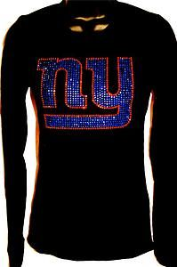 Women's New York NY Giants Bling Sparkle Jersey Tee Tshirt or Long Sleeve Choose | eBay