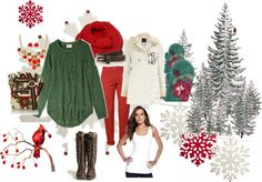 """""""Red/Green Christmas"""" by shelley-maria-crawford ❤ liked on Polyvore"""