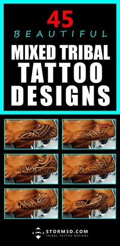 Mixed tribal tattoo designs available in Maori, Samoan, Hawaiian and other Polynesian styles.