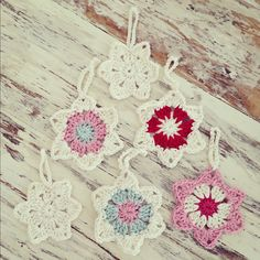 Crochet Christmas star decorations ready for the tree! #homemade #crochet #christmas #... |