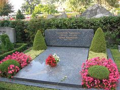 Grave of the Russian-born writer Vladimir Nabokov and his wife in Clarens Cemetery.