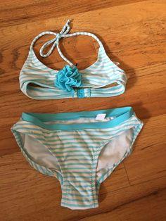 GAP blue turqouise/white stripes brand new two piece bathing suit XS 4-5 #GAP