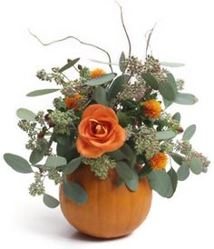 Fresh Flower Pumpkin Arrangement:   Trace the bottom of a metal can onto the top of a pumpkin, cut along the traced line. Remove the seeds and flesh of the pumpkin.Fill the can with water. Use floral foam to secure flowers.Arrange your choice of seasonal flowers.