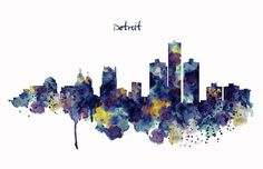 """Watercolor skyline silhouette of Detroit, Michigan.This artwork is featured in:""""Amazing Art And Artists"""" Art"""" Art And Resources"""" Frames On Wall, Framed Wall Art, Framed Art Prints, Fine Art Prints, Canvas Prints, Wall Prints, Detroit Skyline, Detroit Michigan, Skyline Silhouette"""