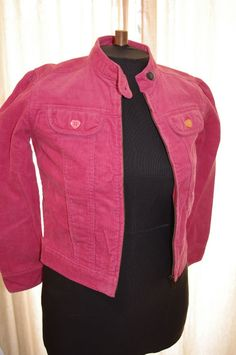 Gymboree Girls Sz 10 Jacket PINK/CORALCorduroy ~Zipper and Pockets ~Heart Button #Gymboree