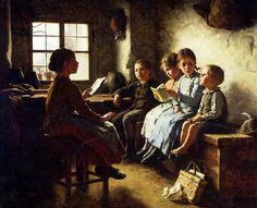 Simon Glücklich (1863 – 1943),   'The Reading Lesson'