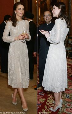 Kate was in the Erdem 'Rhona' Metallic Floral Lace Dress. ©Nunn Syndication, Polaris / PA Wire