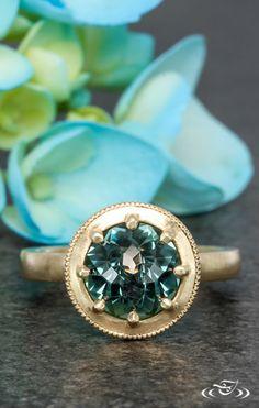 Montana Sapphire Fairmined Gold Reverse Milgrain Engagement Ring