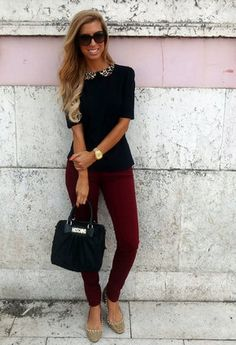 burgundy and black. There are some burgundy pants at banana republic like these I hope go on sale soon!!!