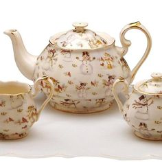 Snowman 3 Pc Tea Set- Teapot, Sugar Bowl, Cream Pitcher