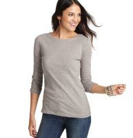 Cotton Zip Back Crewneck Tee - Finished with an exposed back zip and grosgrain pull, this chic tee gets tomboy sweet just right. Crewneck. Long sleeves.