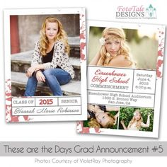 These are the Days Grad Announcement custom photoshop templates for photographers Graduation Templates, Graduation Announcements, Senior Girls, Photo Displays, Custom Photo, Photo Cards, Photo Editing, Photoshop, Photographers