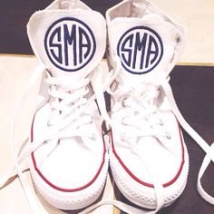 Jazz up those white opening number or group photo sneakers with an adorable monogram on the tongue of the shoe!