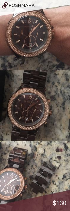 MICHAEL KORS WATCH Woman's Michael kors woman's watch color is sable .ceramic case and bracelet used only a few times in almost new condition extra links for bigger side I had to get mines adjusted to my wrist. No battery will have to be taken to get one . Sorry Michael Kors Accessories Watches