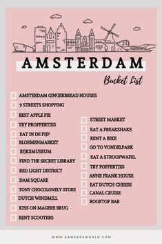 The ultimate Amsterdam bucket list full of the top things to do in Amsterdam. Travel to Amsterdam and do all the best things there are to do and see. From The Red Light District and beyond! Amsterdam City Guide, Visit Amsterdam, Amsterdam Travel, Europe Travel Tips, Travel List, European Travel, Travel Advise, Dam Square, See World