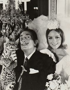 Dali with Bride & Ocelot; Dali is like my main man. Who the hell just has an ocelot hanging around? F-n' Dali. Salvador Dali, Joan Miro, Pablo Picasso, Vintage Photographs, Vintage Photos, Ocelot, Gelatin Silver Print, Musa, Great Artists