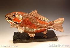 KOI 3-D stained glass sculpture by Steve Meyer. Composed of approximately 4000 pieces of Spectrum Champagne Silvercoat.