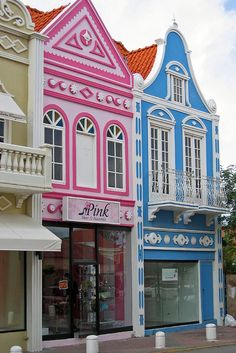 Aruba ~! The buildings in Aruba are brightly painted and reflect their European heritage.