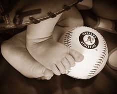 Baby Baseball Newborn Newborn picture ideas Infant photo Infant baseball pictures Oakland athletics Baby feet Baseball glove  Newborn picture  Newborn baseball picture