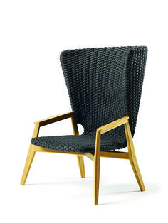 Ethimo Knit Lounge High Back Armchair Teak Teak Garden Furniture, Mod Furniture, Garden Sofa, Furniture Making, Furniture Design, Outdoor Loungers, Outdoor Chairs, Outdoor Spaces, Patrick Norguet