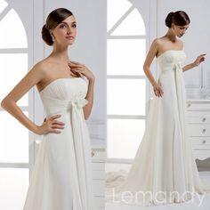 simple strapless A line empire waist by Lemandyweddingdress
