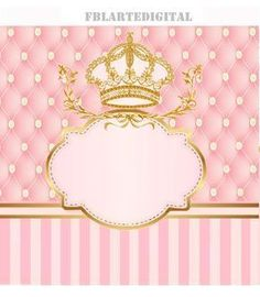 kit digital for children's party theme royalty colors pink baby and golden Hello ! Attending to request, I make available to you the kit r . Princess Birthday, Princess Party, Girl Birthday, Birthday Invitations, Digital Invitations, Baby Shawer, Kits For Kids, Spa Party, Childrens Party