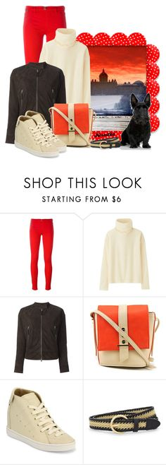 """nr 934 / Let's go for a walk"" by kornitka ❤ liked on Polyvore featuring Love Moschino, Uniqlo, Eleventy, Big Buddha, Giuseppe Zanotti and Sandro"