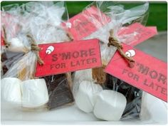 camping birthday party - for treat bag. S'more for later. Cute.
