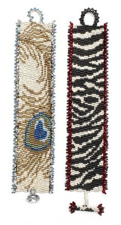 Stitch these gorgeous animal print peyote bracelets, representing zebra- and peacock-patterns, from Bead & Button Magazine. Get the free pattern