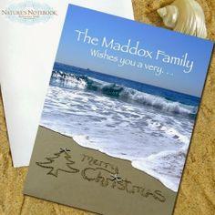 Writing in Sand Beach Photo Christmas Cards.