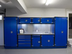 If you have room, cabinets keep everything (including hazardous chemicals) out of harm's way.