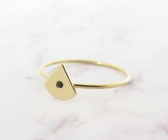 Gold Fan ring, 14K Solid gold ring, Delicate triangle ring, Delicate diamond ring, Diamond triangle ring, Minimal triangle ring, Dainty