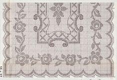 Professione Donna: Schemi per il filet: Tovaglia rettangolare con cornice di fiori