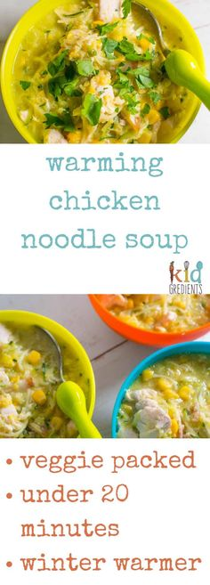 The perfect chicken winter soup that warms you up from the inside out. Kid friendly and veggie packed, this soup is a winter favourite. Family dinner with extra veggies and wholefood ingredients. via @kidgredients