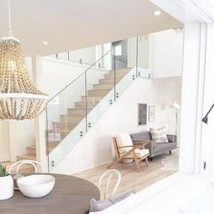 Amazing Glass Staircase Ideas To Inspire You Basically, luxury homes are deliberately made for people who like and like the element of beauty but with an elegant impression. Therefore, in designing luxury homes are generally not arbitrary alt… Staircase Railings, Modern Staircase, Staircase Design, Staircase Ideas, Railing Ideas, Modern Railing, Banisters, Stair Idea, Railing Design