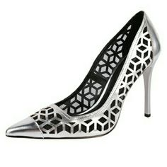 Charles David Silver Lazer Cut Leather Heel Charles David Kaylee w/ geometric Lazer Cut design. Pointed toe. 4 in heel. NIB.   No trade or PP.  Offers Considered.  Bundle discounts. Charles David Shoes Heels