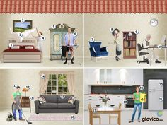 Imágenes habitaciones - los quehaceres, los muebles, los cuartos de la casa