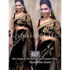 Black Metal Queen Deepika Bollywood Replica Saree