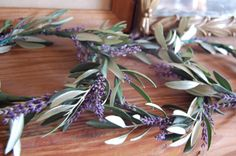 olive and lavender head wreaths for flower girls