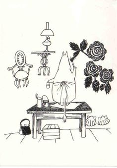 """""""So she began to paint flowers all over the wall. They were large, substantial flowers because the brushes were large, and the dye soaked right into the plaster and looked intense and transparent."""" Quote from """"Moominpappa at Sea"""" by Tove Jansson Tove Jansson, Moomin Books, Moomin Valley, You Draw, Children's Book Illustration, Illustrations Posters, Fairy Tales, Kawaii, Drawings"""