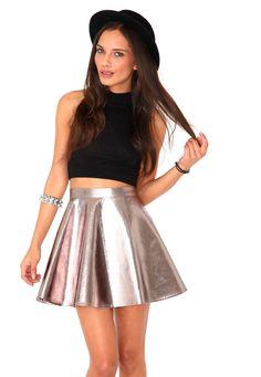 610c541238088 Kitty Metallic Skater Skirt In Rose Gold Tops Fiesta