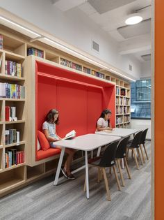 Blue School / Rockwell Group - 11 Photo by Albert Vecerka/Esto Library Architecture, Interior Architecture, Office Interior Design, Office Interiors, Library Furniture Design, Bookstore Design, Rockwell Group, School Library Design, School Furniture