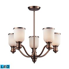 Brooksdale 5 Light LED Chandelier In Antique Copper And White Glass by Elk Lighting Group