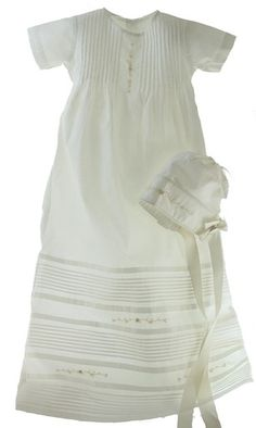 175b377b8b2a Heirloom quality Christening gown is white with vintage ivory trim and  comes with bonnet and slip