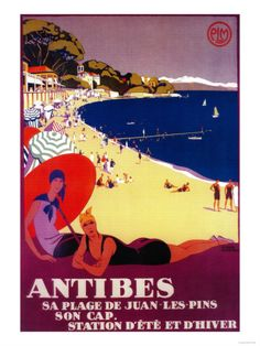FRANCE - Antibes Vintage travel poster - South of France