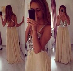 Sexy prom dress,Charming Chiffon Prom Dress,Spaghetti Straps Evening Dress,Beading Party Dress,Floor Length Party Dress